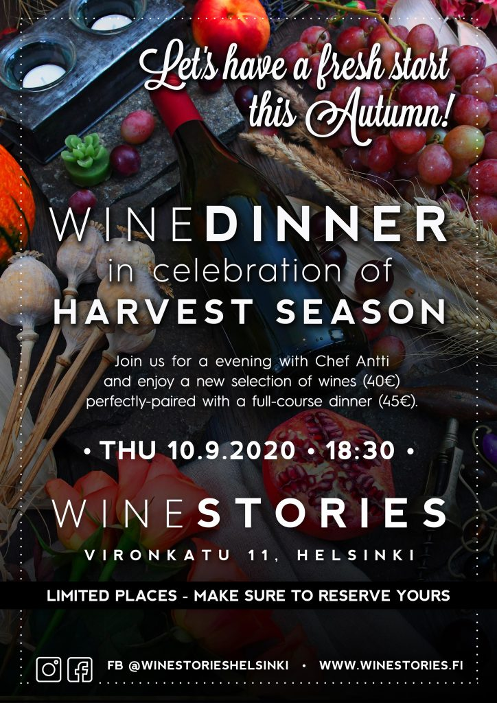 Wine Dinner in celebration of Harvest Season / 10.09.2020